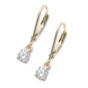 Round CZ Yellow Tone Solitaire Leverback Earrings